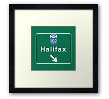 Halifax, Nova Scotia, Road Sign, Canada Framed Print