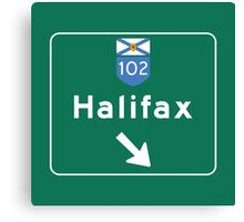 Halifax, Nova Scotia, Road Sign, Canada Canvas Print