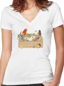 Birblr and Chill Women's Fitted V-Neck T-Shirt