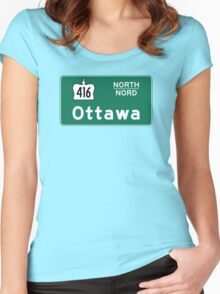 Ottawa, Road Sign, Canada Women's Fitted Scoop T-Shirt