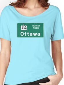 Ottawa, Road Sign, Canada Women's Relaxed Fit T-Shirt
