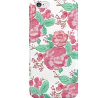 Hand painted pink watercolor roses floral pattern iPhone Case/Skin