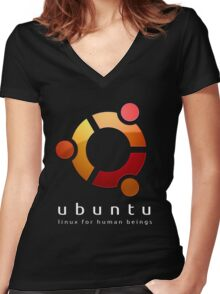 Ubuntu - linux for human beings Women's Fitted V-Neck T-Shirt