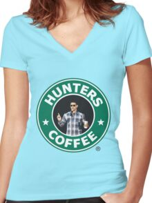 """Supernatural - """"Hunters Coffee"""" Women's Fitted V-Neck T-Shirt"""