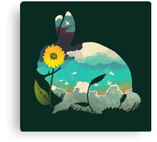 Rabbit Sky (Forest Green) Canvas Print