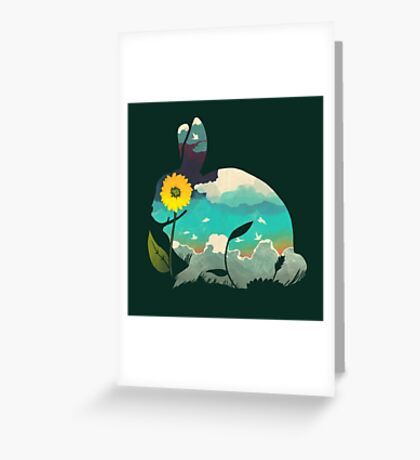 Rabbit Sky (Forest Green) Greeting Card