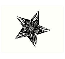 Star Tangles 2 Black - An Aussie Tangle by Heather Holland - See Description Notes for Colour Options.  Art Print