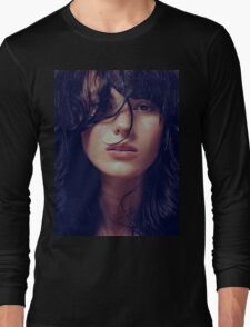 Wisp - natural girl, awesome vintage cool blue, Erotic t-shirt fashion photography Long Sleeve T-Shirt