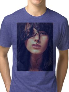 Wisp - natural girl, awesome vintage cool blue, Erotic t-shirt fashion photography Tri-blend T-Shirt