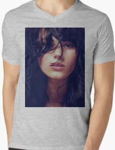 Wisp - natural girl, awesome vintage cool blue, Erotic t-shirt fashion photography Mens V-Neck T-Shirt