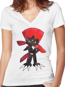 Weavile - Red Women's Fitted V-Neck T-Shirt