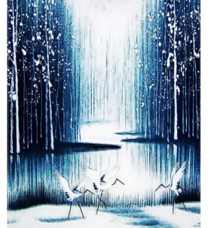 'Winter Trio' - Winter Heron Scene Sticker