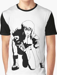 Ghost in the Shell,  Major crouching (B&W) Graphic T-Shirt