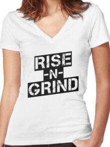 Rise n Grind - Black Women's Fitted V-Neck T-Shirt