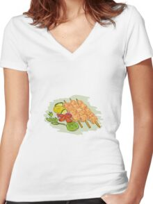 Chicken Kebabs Vegetables Drawing Women's Fitted V-Neck T-Shirt