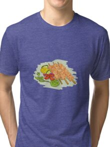 Chicken Kebabs Vegetables Drawing Tri-blend T-Shirt