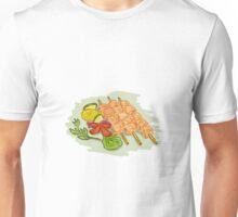 Chicken Kebabs Vegetables Drawing Unisex T-Shirt