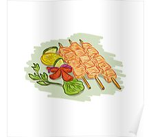 Chicken Kebabs Vegetables Drawing Poster