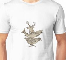 Deer Trout Quail Drawing Unisex T-Shirt