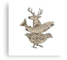 Deer Trout Quail Drawing Metal Print