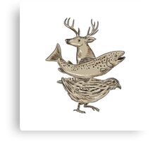 Deer Trout Quail Drawing Canvas Print