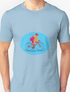 Female Cyclist Riding Bike Drawing T-Shirt