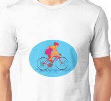 Female Cyclist Riding Bike Drawing Unisex T-Shirt