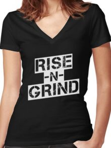 Rise n Grind - White Women's Fitted V-Neck T-Shirt