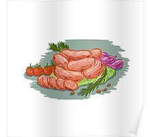 Pork Sausages Vegetables Drawing Poster
