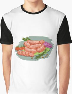 Pork Sausages Vegetables Drawing Graphic T-Shirt