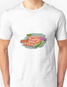 Pork Sausages Vegetables Drawing T-Shirt