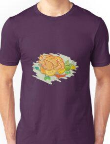 Roast Chicken Vegetables Drawing Unisex T-Shirt