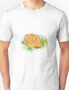Roast Chicken Vegetables Drawing T-Shirt