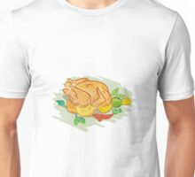 Roast Chicken Vegetables Drawing Unisex T-Shirt