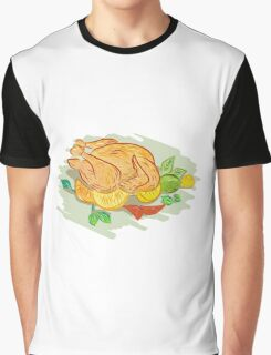 Roast Chicken Vegetables Drawing Graphic T-Shirt