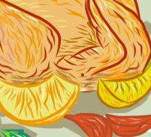 Roast Chicken Vegetables Drawing Sticker
