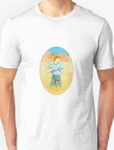 Wheat Organic Farmer Scythe Oval Drawing T-Shirt