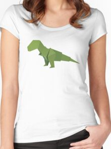 ORIGAMI DINOSAUR Women's Fitted Scoop T-Shirt