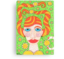 Colorful ginger girl portrait Canvas Print