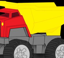 Dump Truck Construction Vehicle on Black and Red Sticker