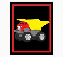 Dump Truck Construction Vehicle on Black and Red Unisex T-Shirt