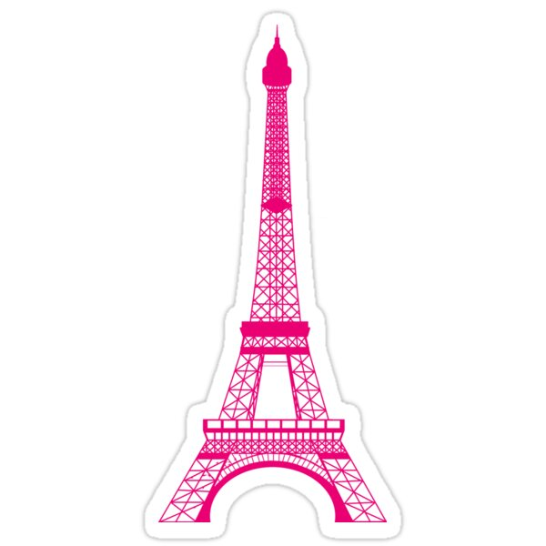 """Hot Pink Eiffel Tower"" Stickers by BeachBumFamily 