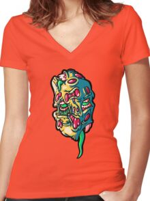 Mutated heads Women's Fitted V-Neck T-Shirt