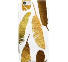 - Golden feathers on a white background - iPhone Case/Skin
