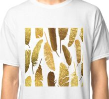 - Golden feathers on a white background - Classic T-Shirt