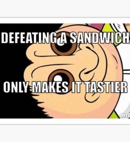 defeating a sandwich Sticker