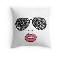 Mandala Sunglasses & Lips Throw Pillow