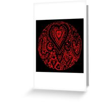 Valentine Circle of Hearts Black Surround Aussie Tangle - see Description Notes re Colours Greeting Card