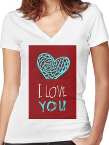 Valentines day card vector background Women's Fitted V-Neck T-Shirt