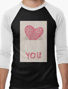 Valentines day card vector background Men's Baseball ¾ T-Shirt
